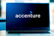 Laptop computer displaying logo of Accenture