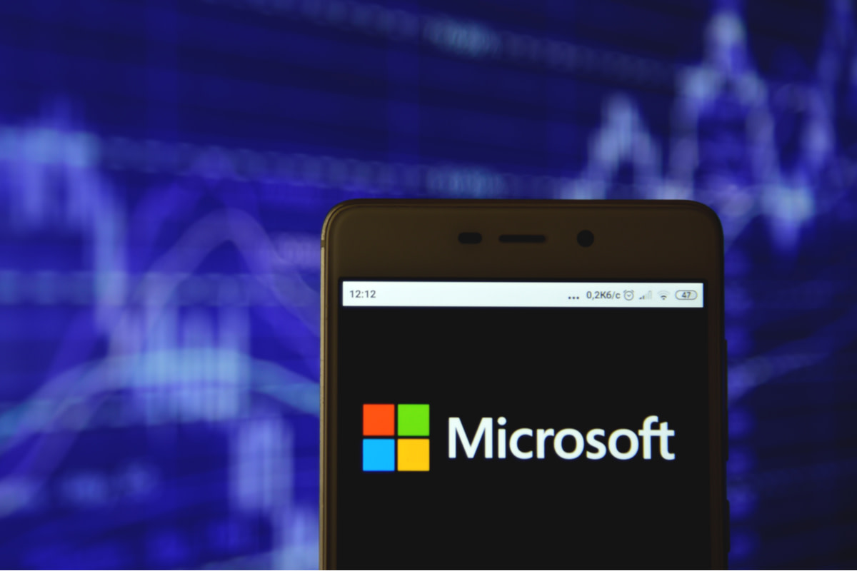 Microsoft Corporation logo is seen on an android mobile