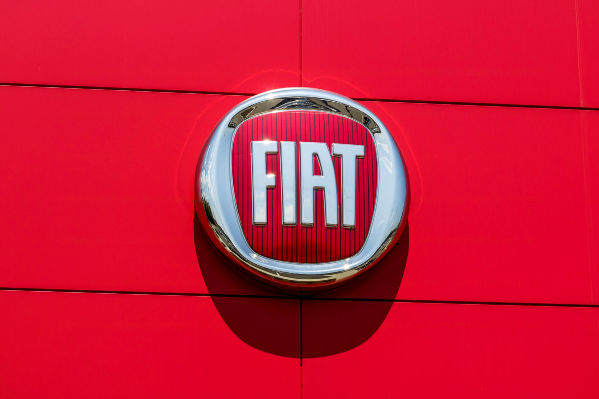 Logo and signage of local Fiat dealership