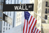 Wall street sign with focus on sign
