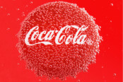 Coca Cola Cap in bubbles on a red background