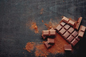 Broken chocolate pieces