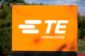 TE Connectivity sign logo at Silicon Valley headquarters