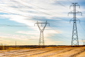 Transmission lines on large utility towers