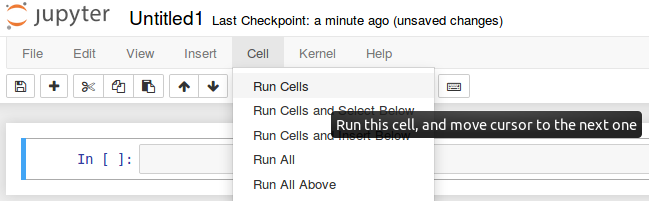 Figure 3. Screenshot illustrating the way to run a jupyter notebook cell.