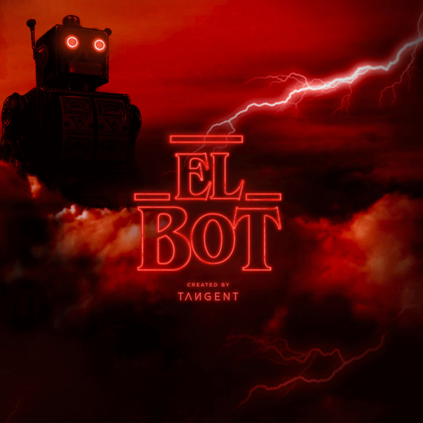 Elbot -The logo, robot in the background with bright lightning