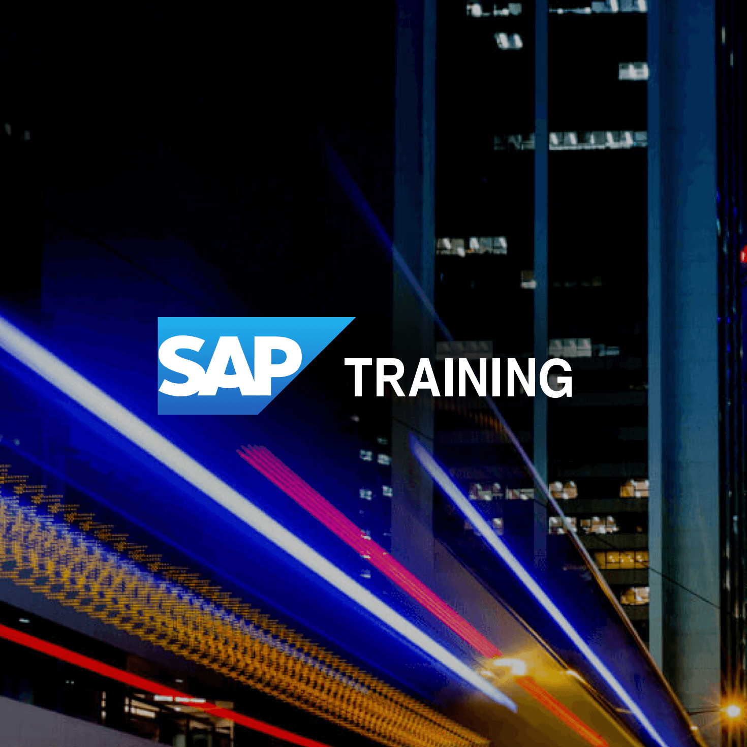 SAP - The logo, with a fast moving train in background