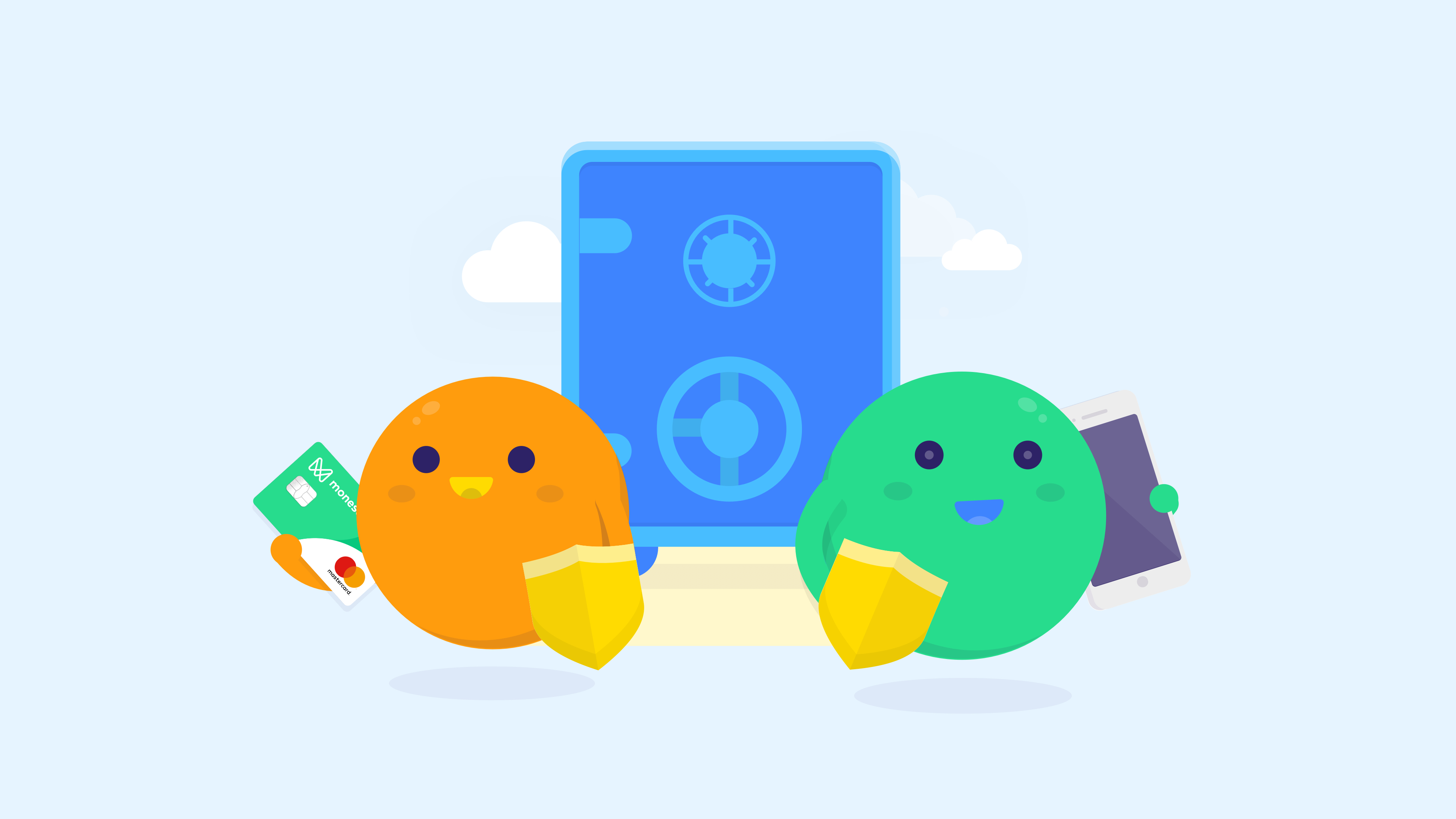 Monese blue vault orange and green characters with sheild, card and phone
