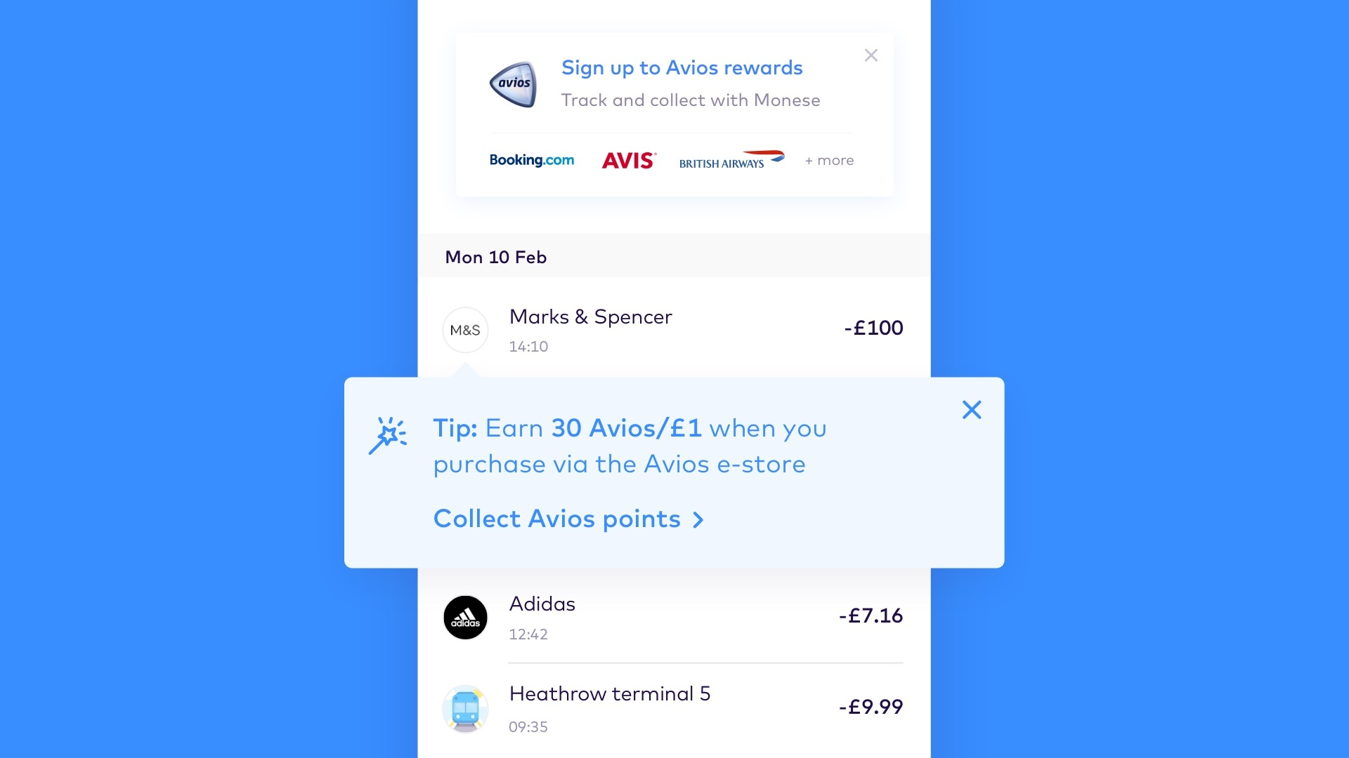 Avios Smart Tip transaction feed