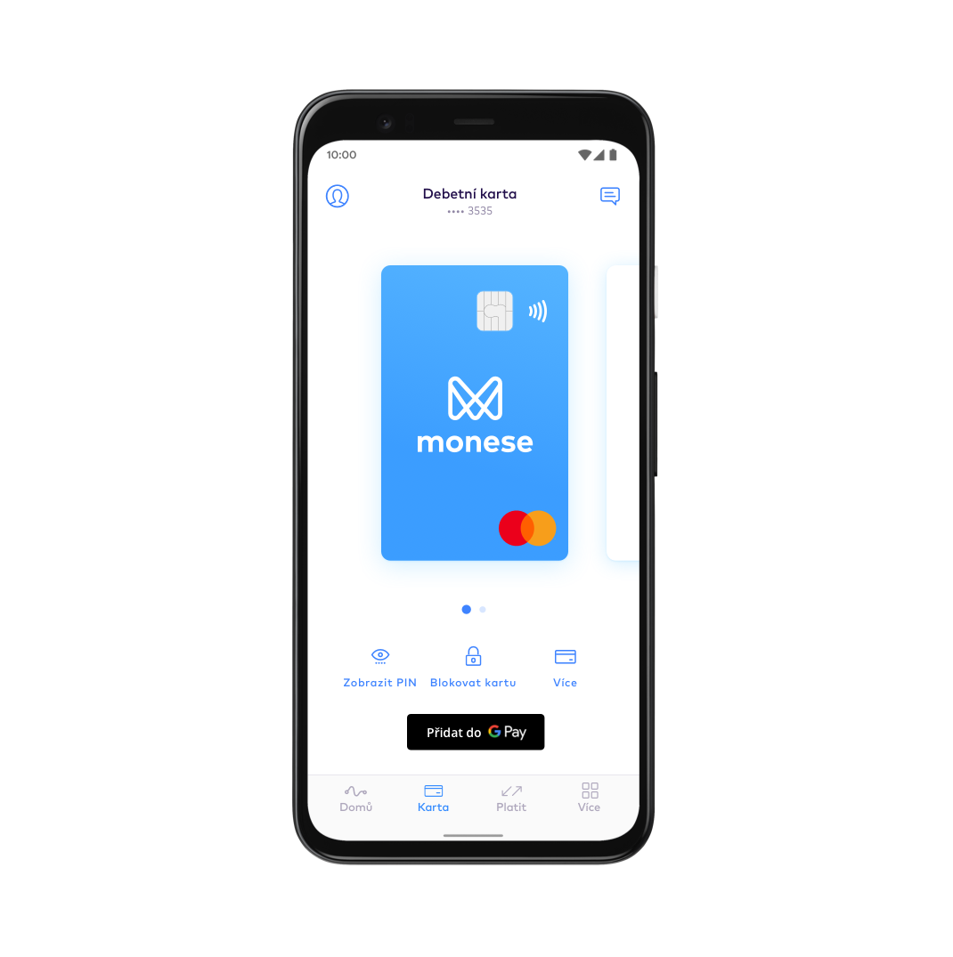 CZ Set up Google Pay with Monese