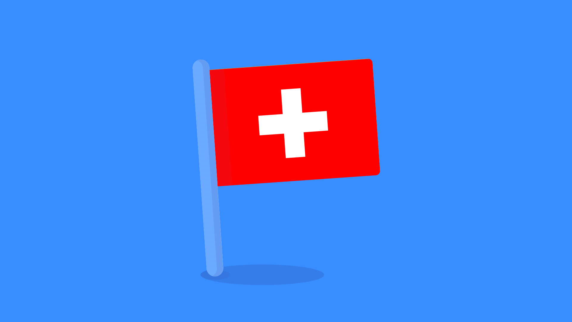 Swiss flag on blue Monese background