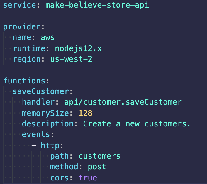 Make believe store api code