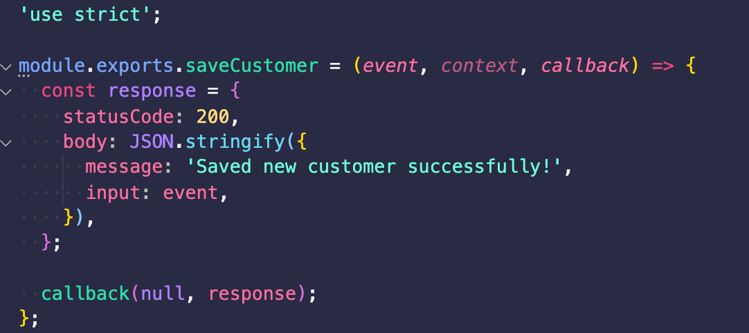 saveCustomer lambda function