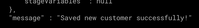 Success message from curl command.