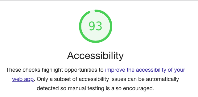 Accessibility score of 93.