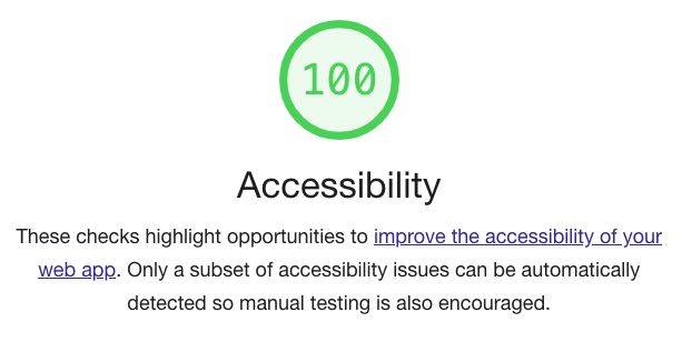 Accessibility score of 100.