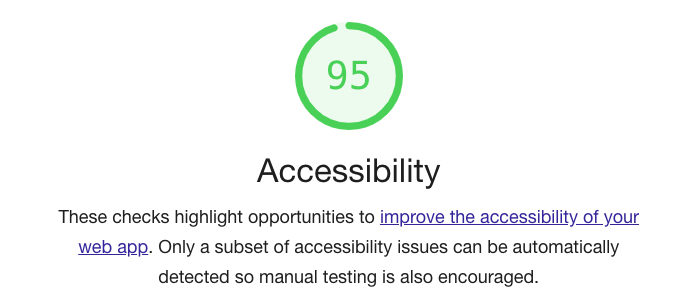 Accessibility score of 95.