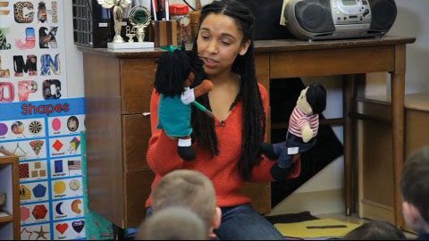 teacher with puppets