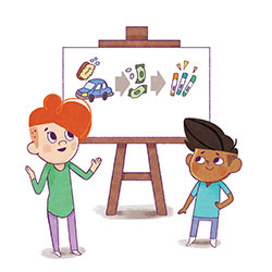 kids with easel illustration