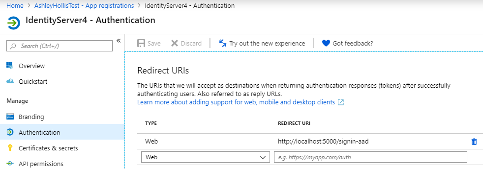 How to configure Azure Active Directory with IdentityServer4