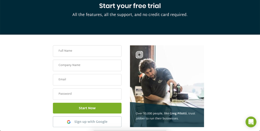 Start your free trial on Jobber