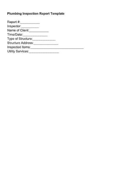 plumbing inspection report template
