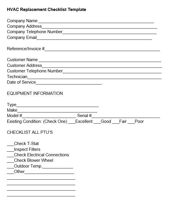 hvac replacement checklist