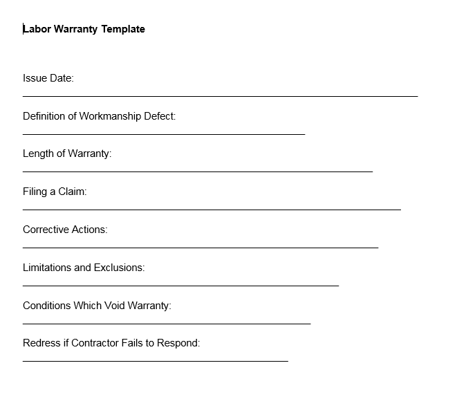 Labor Warranty Template