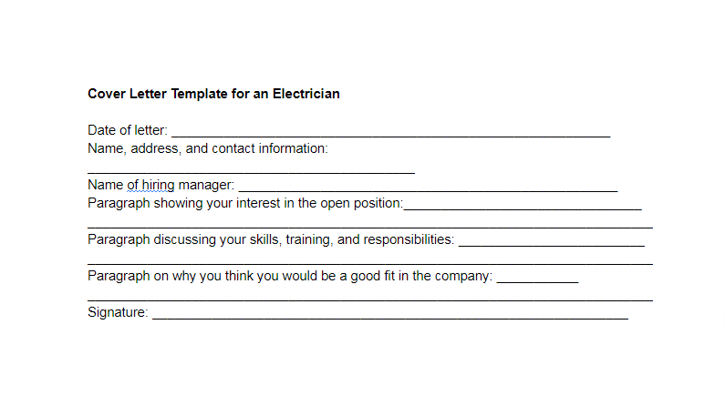 Cover Letter Template for an Electrician