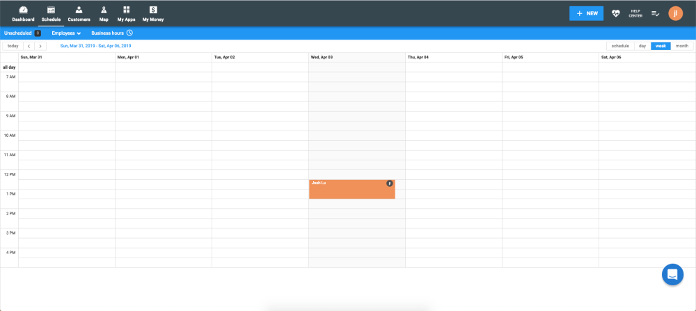 Schedule view on Housecall Pro