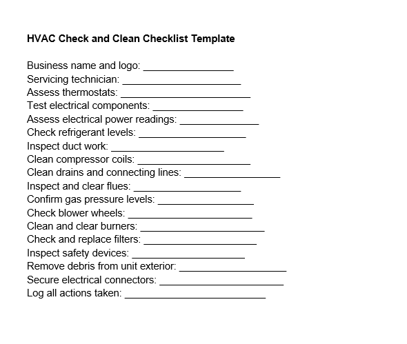 HVAC clean and check checklist
