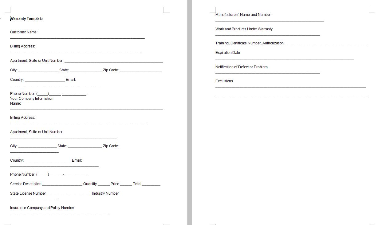 Small Business Warranty Template