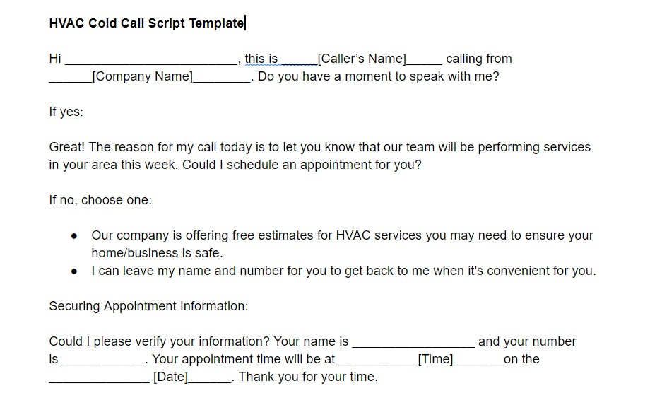 HVAC Cold Call Script Template