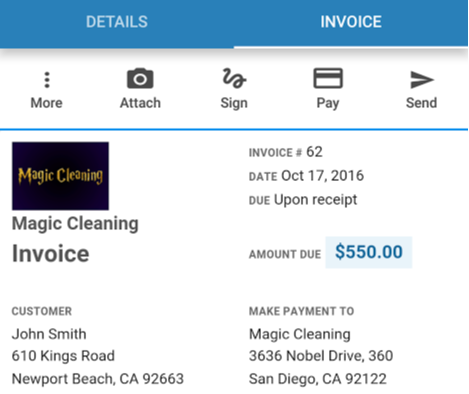 Magic Cleaning invoice on Housecall Pro