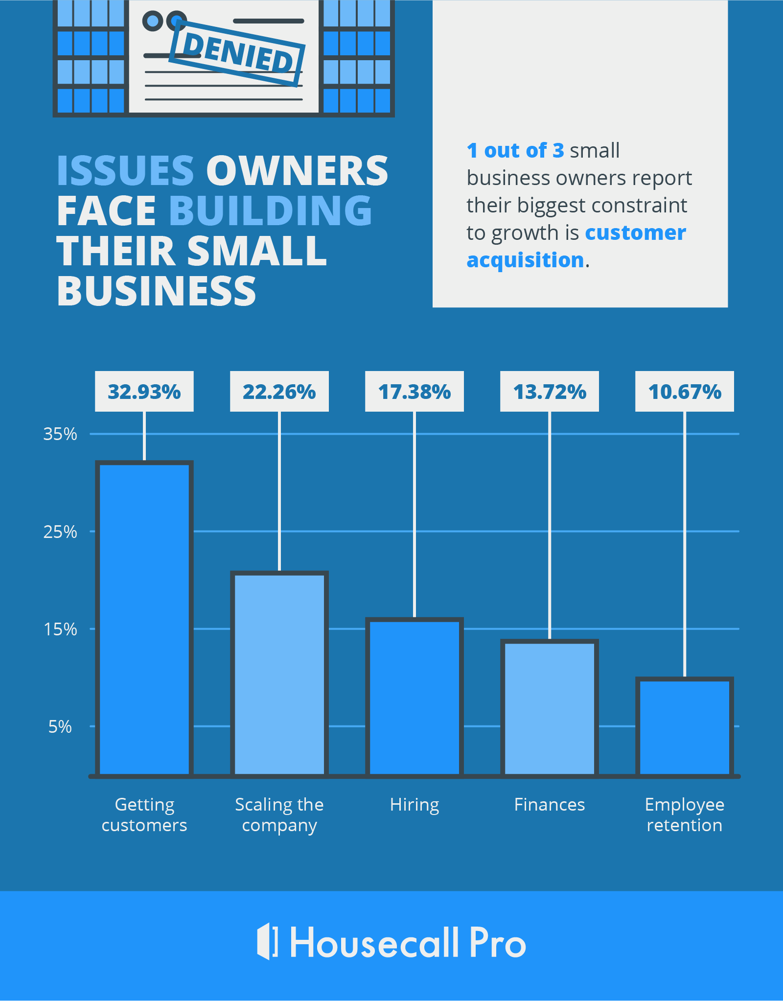 data visualization of the issues business owners find that most hinder their growth