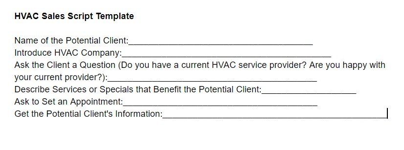 HVAC Sales Script Template