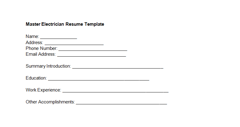 Master Electrician Resume Template
