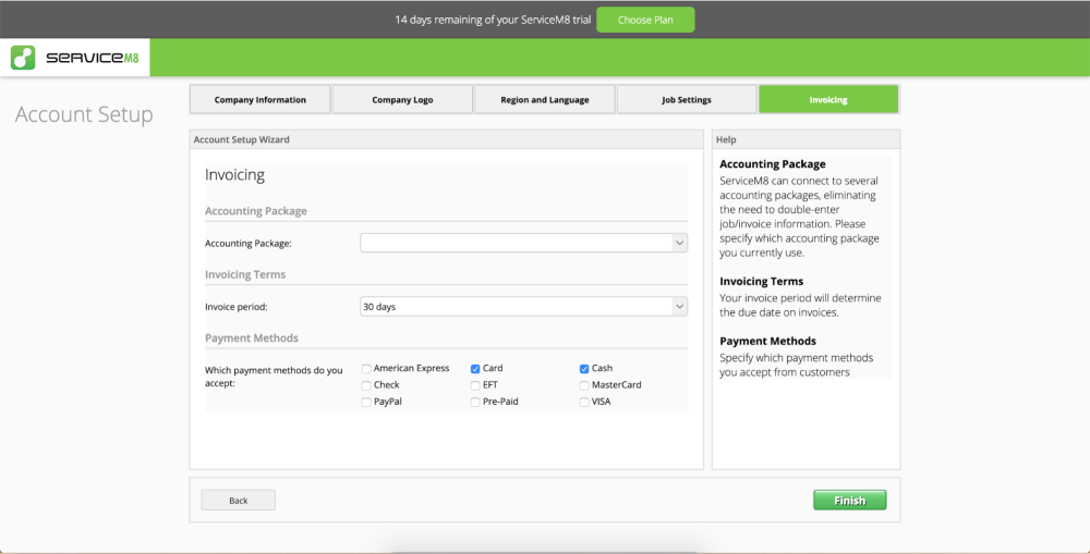 Setup your invoicing information on Servicem8