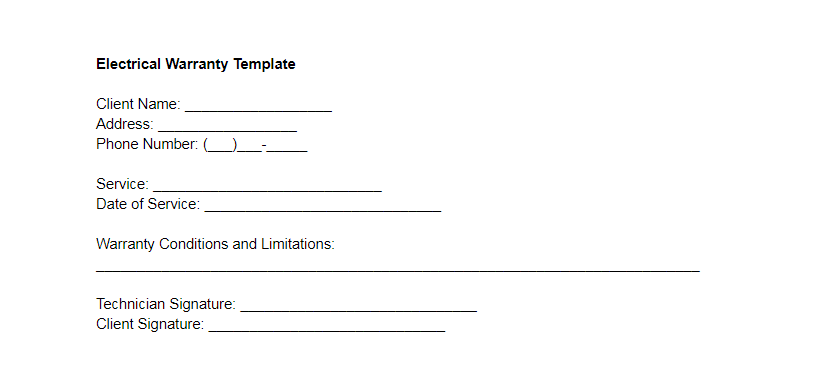 Electrical Warranty Template