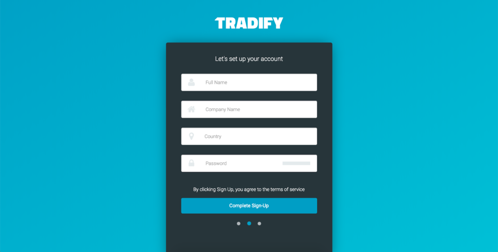 Enter your name company country and phone number on Tradify
