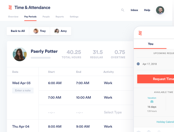 zenefits feature time attendance