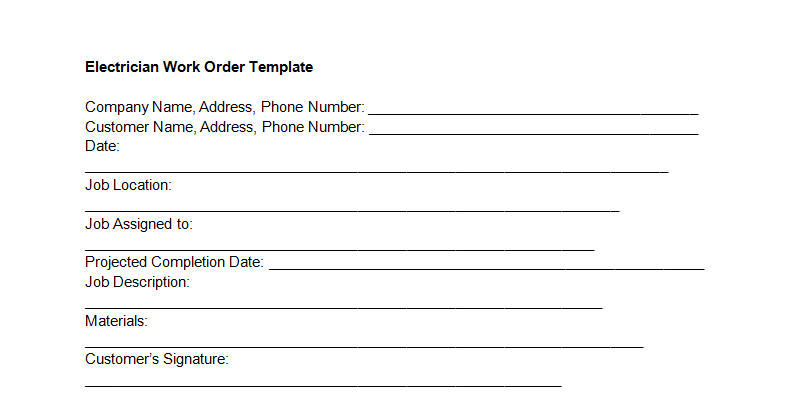 Electrician Work Order Template