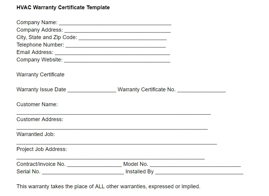 Hvac Warranty Template Template Housecall Pro