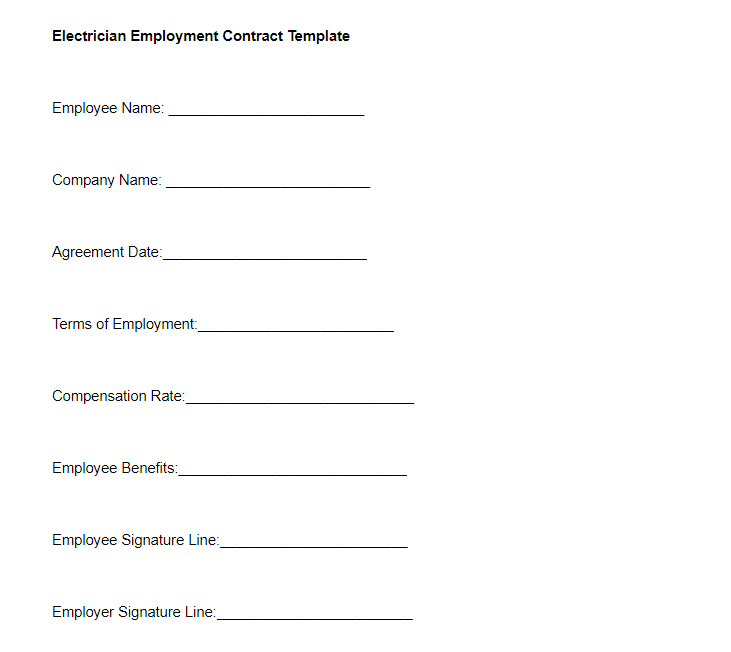 Electrician Employment Contract Template