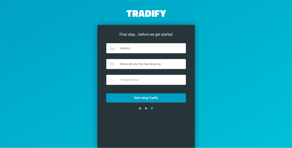 Picky your industry on Tradify