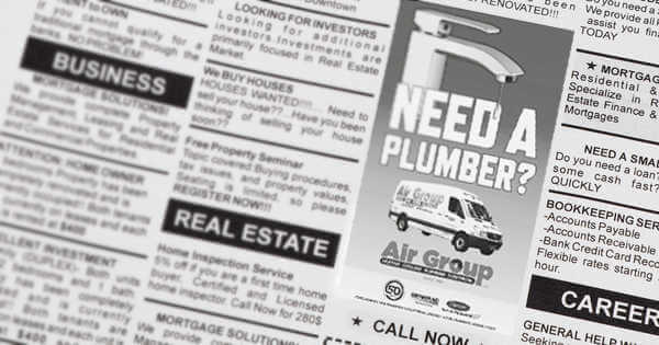 Plumbing ad example in the paper