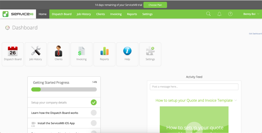 Home dashboard on Servicem8