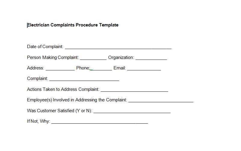 Electrician Complaints Procedure Template