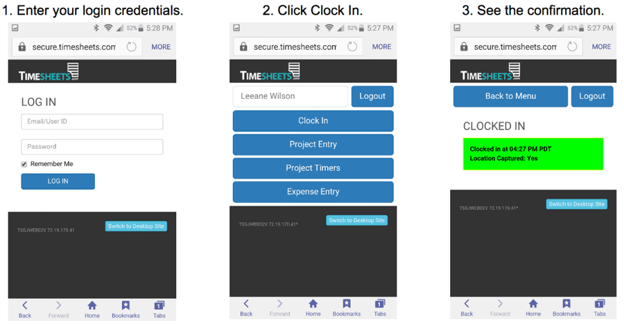 timesheets screenshot