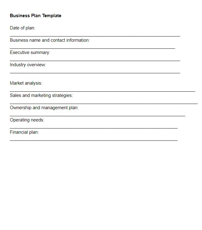 Small Business-Business Plan Template